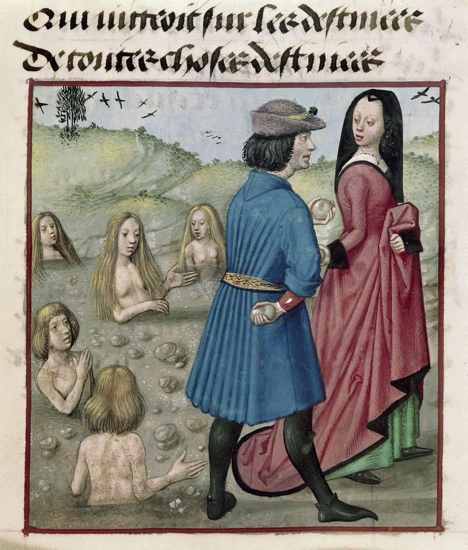 Deucalione e Pirra ripopolano il mondo dopo il diluvio, British Library, Harley 4425 c.153r. Roman de la Rose, 1490-1550. (Origine: Bruges)
