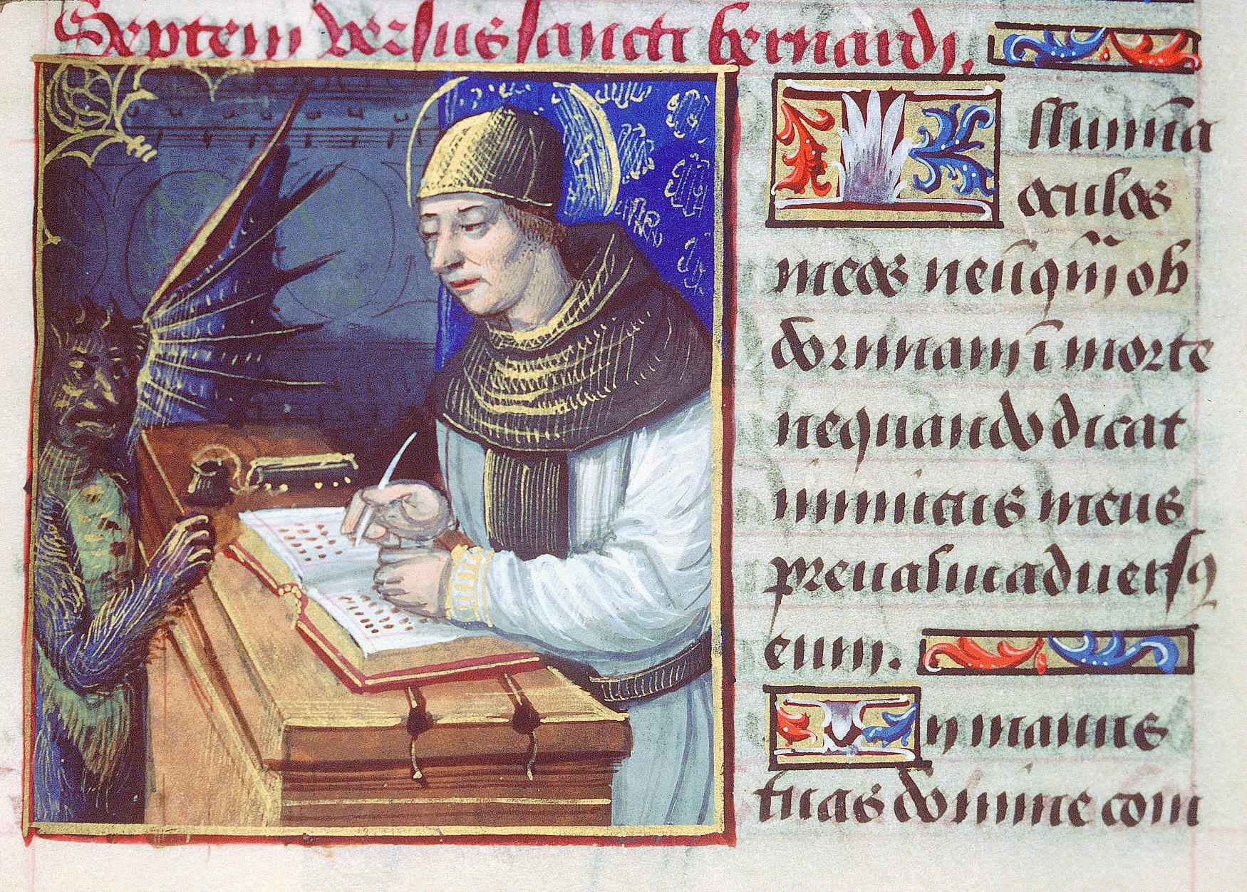 Saint Bernard de Menthon et le diable (Titivillus) Horae ad usum romanum - Heures de Louis de Savoie (1445-60) - Latin 9473 fol-10v