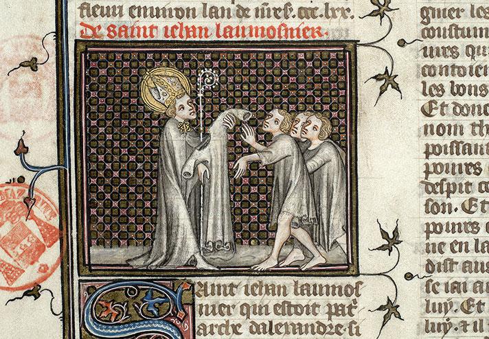 Saint Jean l'Aumônier donnant un vêtement à des pauvres. Jacobus de Varagine, Légende dorée, 1380 ca. Paris - Bibl. Mazarine - ms. 1729