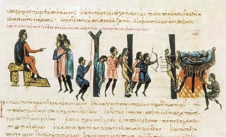 L'ammiraglio Niketas Oryphas punisce i saraceni Cretesi - Giovanni Scilitze - Synopsis historiarum - Biblioteca Nacional Madrid - Codex Matritensis gr Vitr 26-2 - XII sec