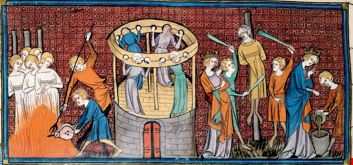 """redegonda fa giustiziare Ennio Mummolo e alcune donne accusandole di stregoneria per aver avvelenato il figlio Teodorico – miniatura dalle """"Chroniques de France ou de Saint-Denis"""", 1332-1350"""