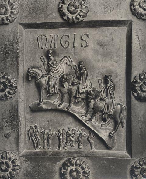 Viaggio dei Re Magi (con peccato originale). Bonanno Pisano, Formella del portale del duomo di Pisa, 1180