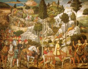 Il re mago Gaspare. Particolare dell'affresco della Cappella dei Magi, Benozzo Gozzoli, 1459 ca. Palazzo Medici Riccardi, Firenze (le figure ritraggono Lorenzo il Magnifico, seguito da suo padre Piero e suo nonno Cosimo il Vecchio; dietro di loro il corteo dei fiorentini illustri)
