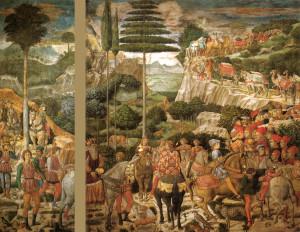 Il re mago Melchiorre. Particolare dell'affresco della Cappella dei Magi, Benozzo Gozzoli, 1459 ca. Palazzo Medici Riccardi, Firenze