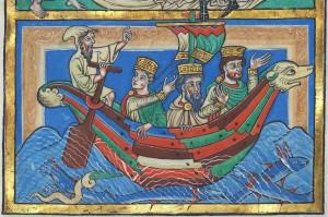 I tre Magi di ritorno nel loro paese d'origine, Lezionario di Spira, 1200 ca., Bruchsal Codex, Karlsruhe, Landesbibliothek (segnalazione di O. Ciprotti).