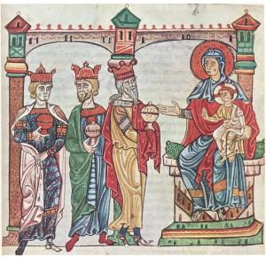 L'adorazione dei Magi - Evangeliario Vaticano Latino 39, sec. XIII - Biblioteca Apostolica Vaticana