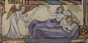 Il sogno dei Re Magi,  Taymouth Hours, Inghilterra, XIV sec . British Library, Yates Thompson MS 13.