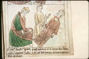 miens - BM - ms. 108    f. 221 Sujet  Claude II et la décollation de saint Valentin Titre  Bible en images Datation  1197