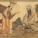 Maometto e Gabriele, Rashid al-Din, Jami' al-Tawarikh (Storia del mondo), Persia, 1307 ca., Edinburgh University Library, Or. Ms. 20, F. 45v