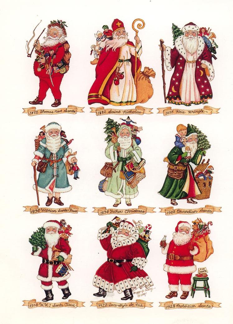 """L'evoluzione di Santa Claus nel tempo, Peggy Jo Ackley per """"Renaissance Greeting Cards"""" in Springvale, Maine, USA"""