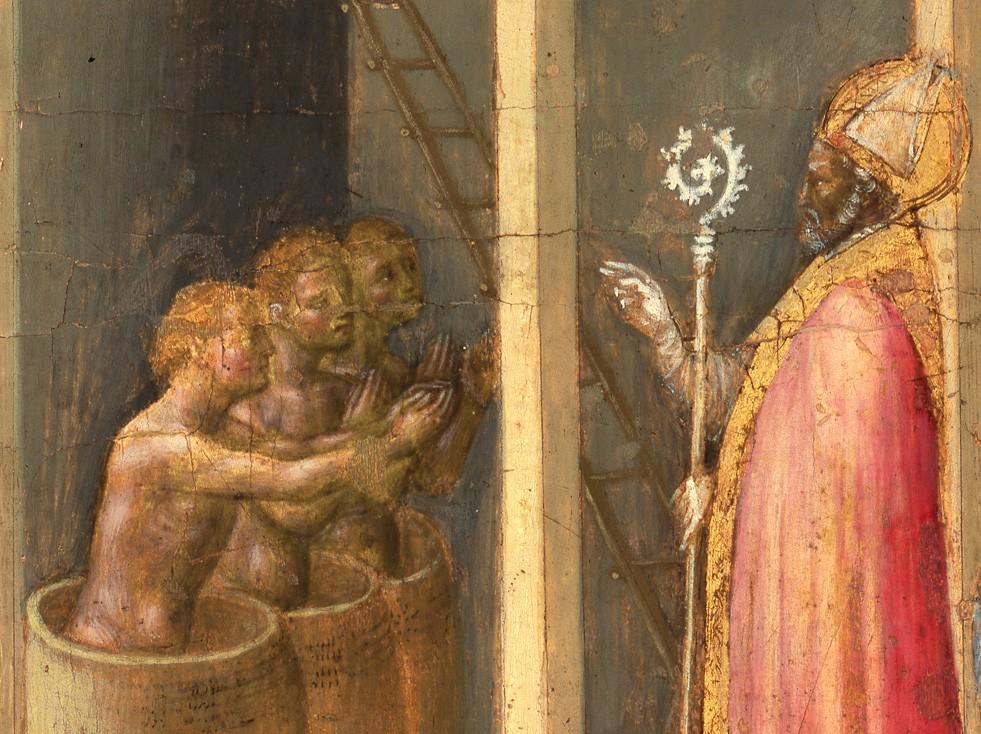San Nicola resuscita tre fanciulli messi in salamoia, Gentile da Fabriano, 1425. Storie di S. Nicola di Bari, Musei vaticani