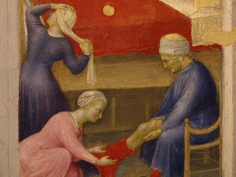 San Nicola dona la dote alle fanciulle povere, Gentile da Fabriano, 1425. Storie di S. Nicola di Bari, Musei vaticani