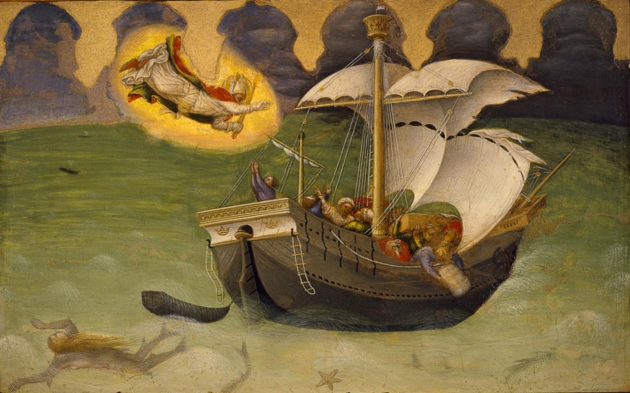 San Nicola Salva una nave dalla tempesta, Gentile da Fabriano, 1425. Storie di S. Nicola di Bari, Musei vaticani